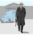 Gangster with gun walking from bank pop art vector image
