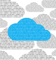 blue cloud and clouds consisting of binary 0 and 1 vector image