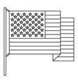 American flag icon outline style vector image