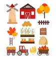 autumn set mill tractor pumpkins harvest tools vector image
