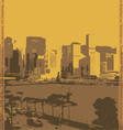 city of Hong Kong on a yellow background vector image