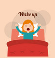 little girl wake up in the bed arms stretching vector image