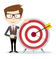 Lucky businessman at the target vector image