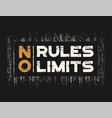 no rules no limits t-shirt and apparel design with vector image