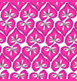 seamless pattern with pink hearts and bow vector image