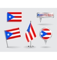 Set of Puerto-Rican pin icon and map pointer vector image