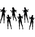 woman silhouette with hand gesture hands open vector image