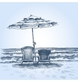 Sunbeds and umbrella on the beach Summer holiday vector image vector image