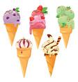 set of ice cream cones with glaze chocolate vector image vector image