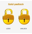Cartoon gold padlock Lock and unlock vector image