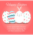 easter eggs set collection and bunny on pink vector image