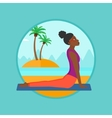 Woman practicing yoga upward dog pose on beach vector image