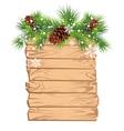Christmas fir tree on a wooden board vector image vector image