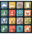 Network flat web icons vector image