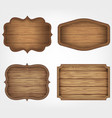 4 realistic wooden signs set decoration elements vector image