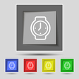 watches icon sign on original five colored buttons vector image