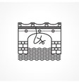Black line icon for rope jumping vector image
