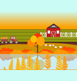 farm village autumn season with lake background vector image