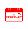 Valentine calendar icon in red color vector image