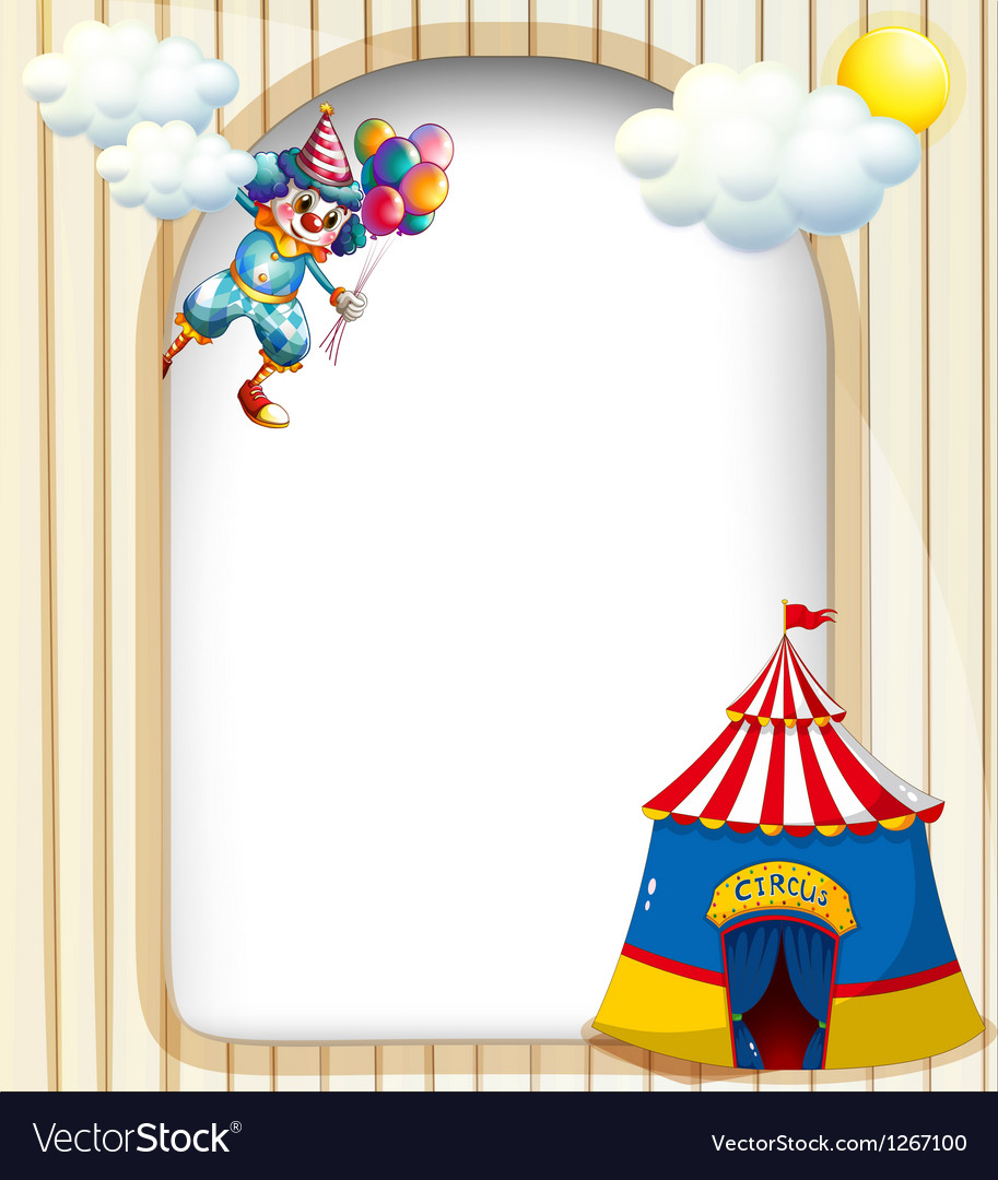 A template with a clown and a circus tent vector