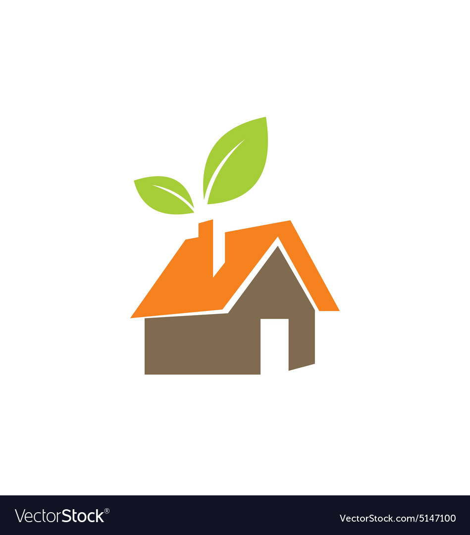 Eco green leaf house nature environment logo vector