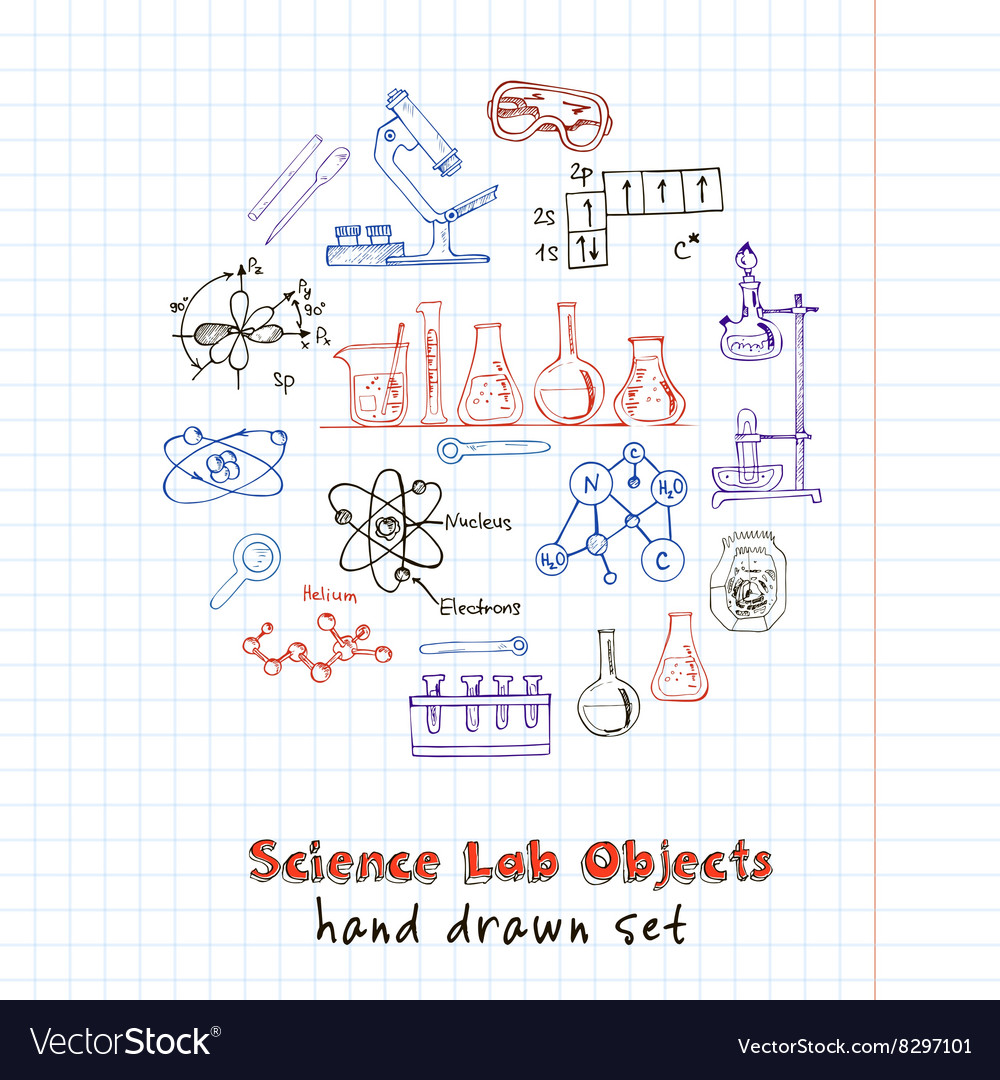 Collection of hand drawn doodle science vector