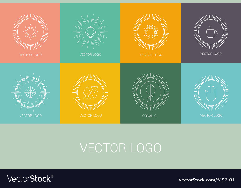 Line design logos and icons elements for cards or vector