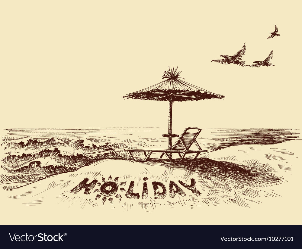 Lounger and umbrella on the beach near sea waves vector