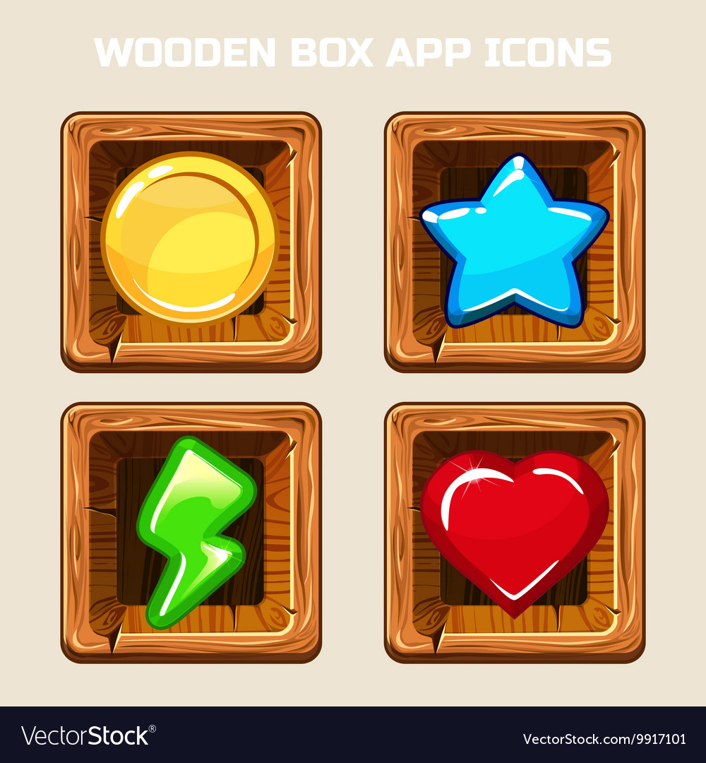 Wooden box app icons vector