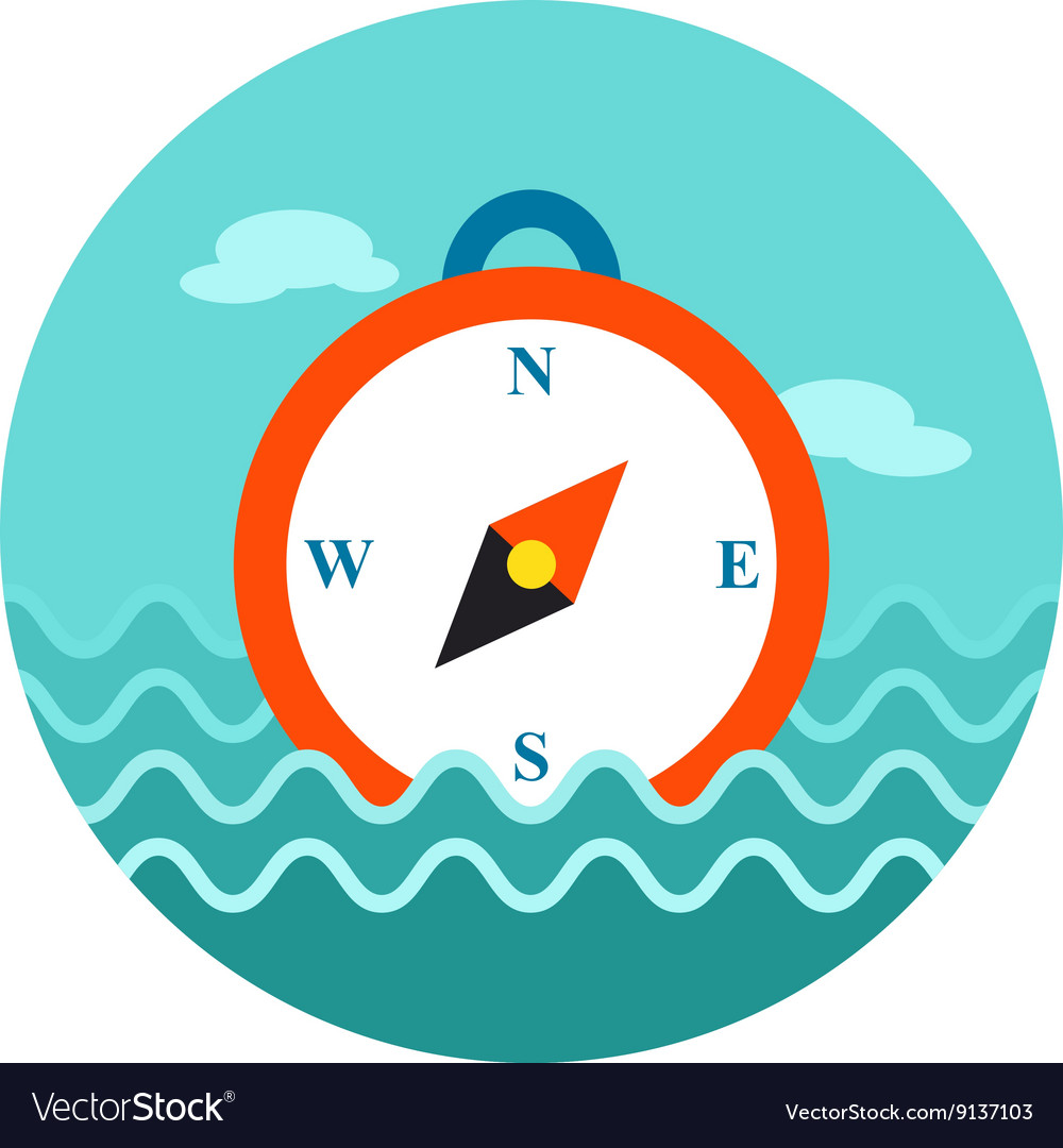 Compass icon summer marine vector