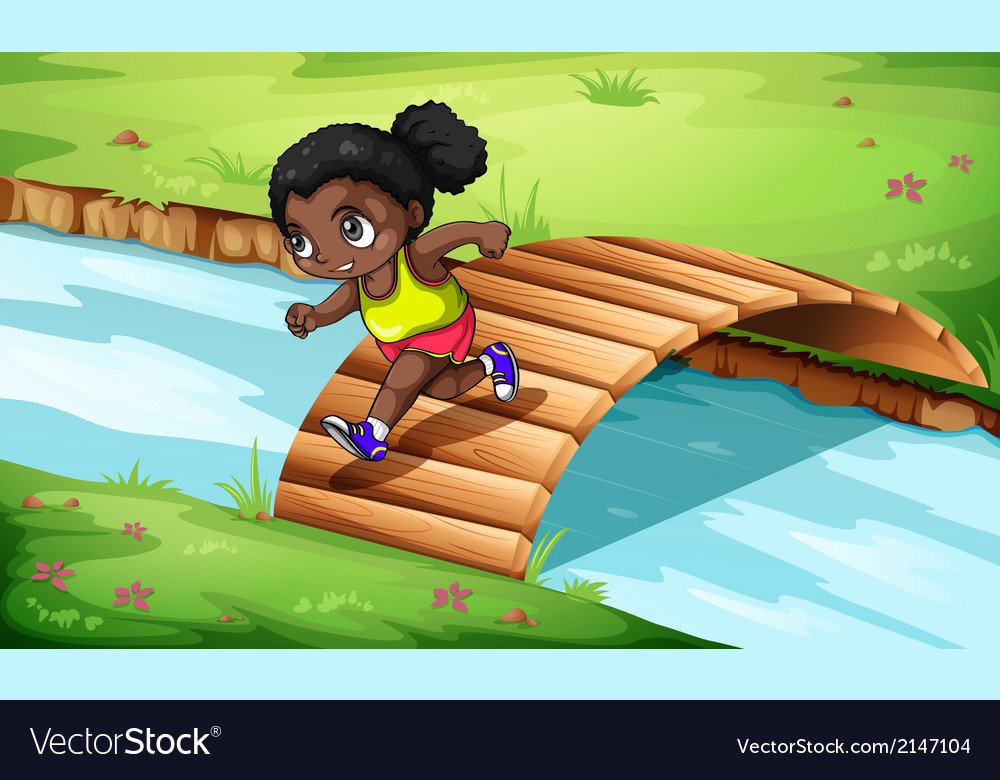 A black girl crossing the wooden bridge vector