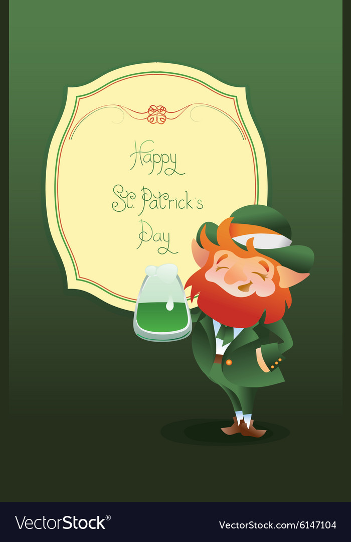 Happy saint patrick day gratters leprechaun vector