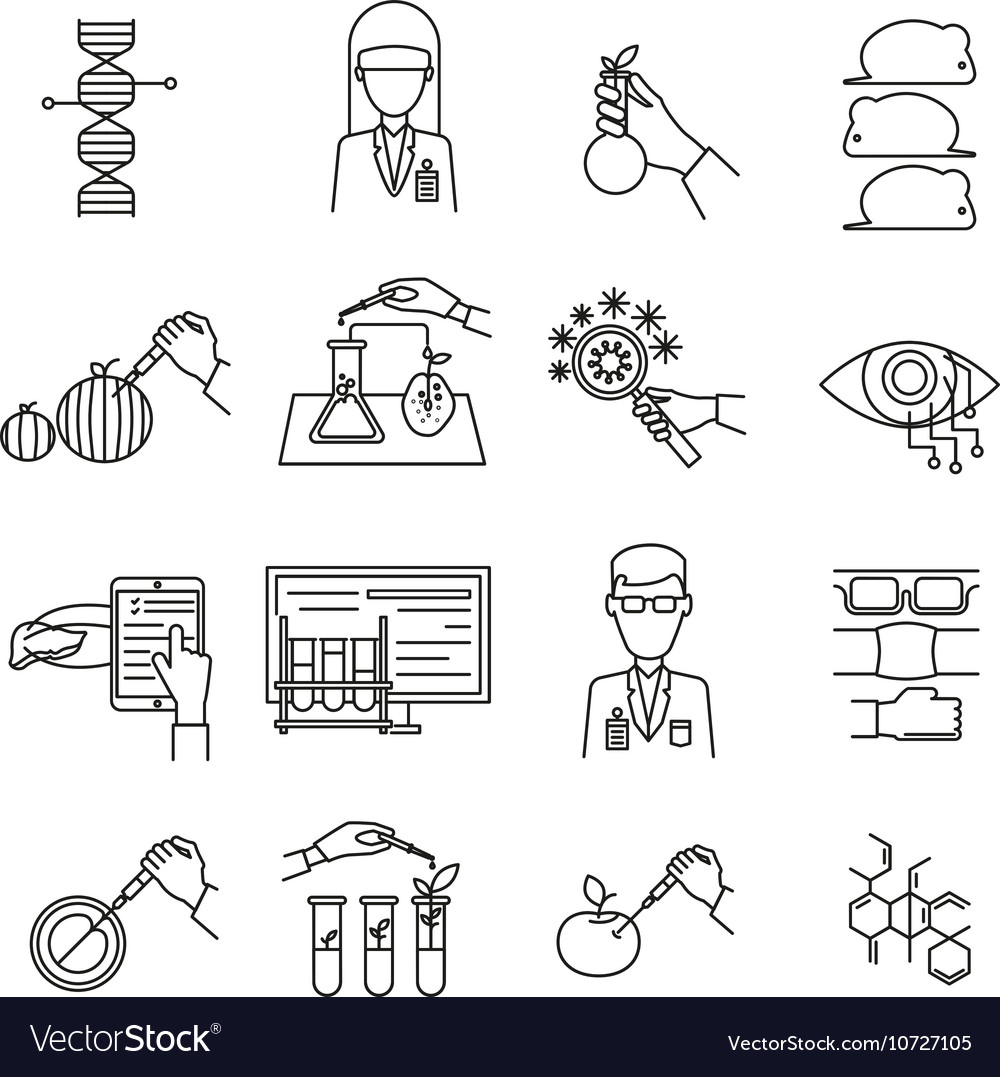 Biotechnology monochrome linear set vector