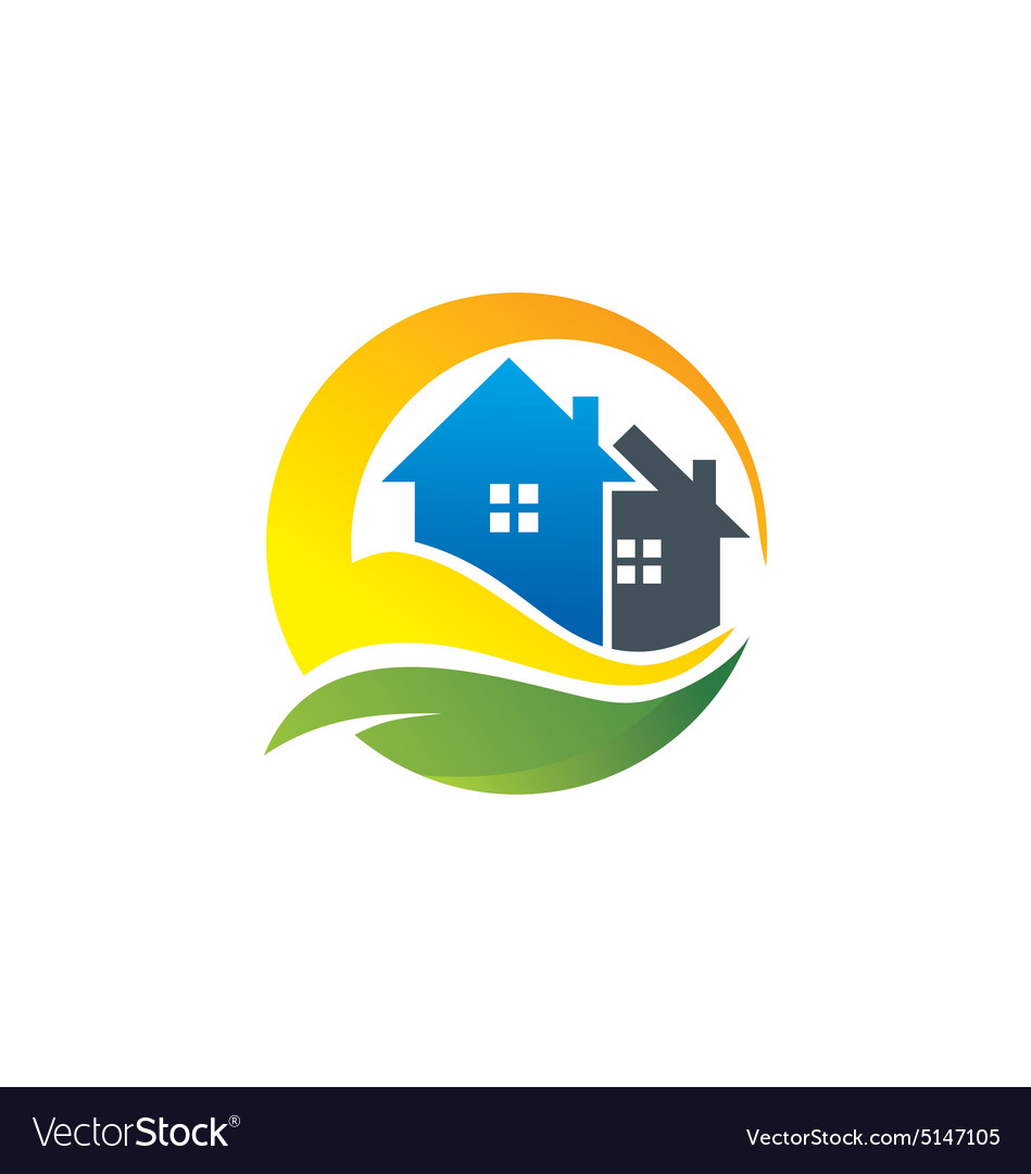 Eco house realty construction logo vector