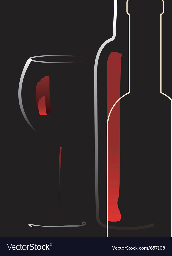 Bottle and glass with red wine vector