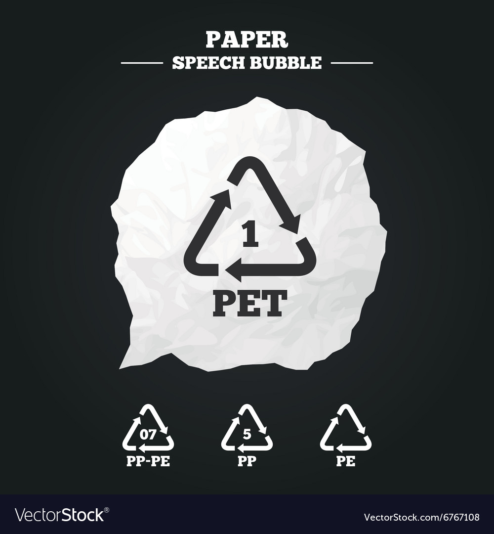 Pet pppe and pp polyethylene terephthalate vector