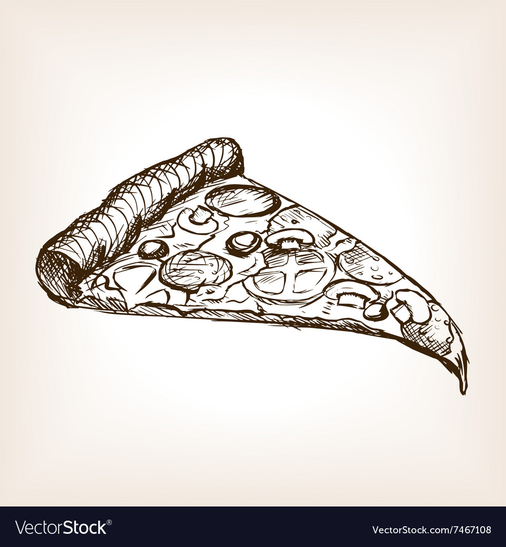 Pizza slice sketch style vector
