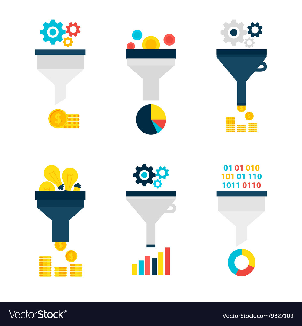 Funnel chart flat objects set isolated over white vector