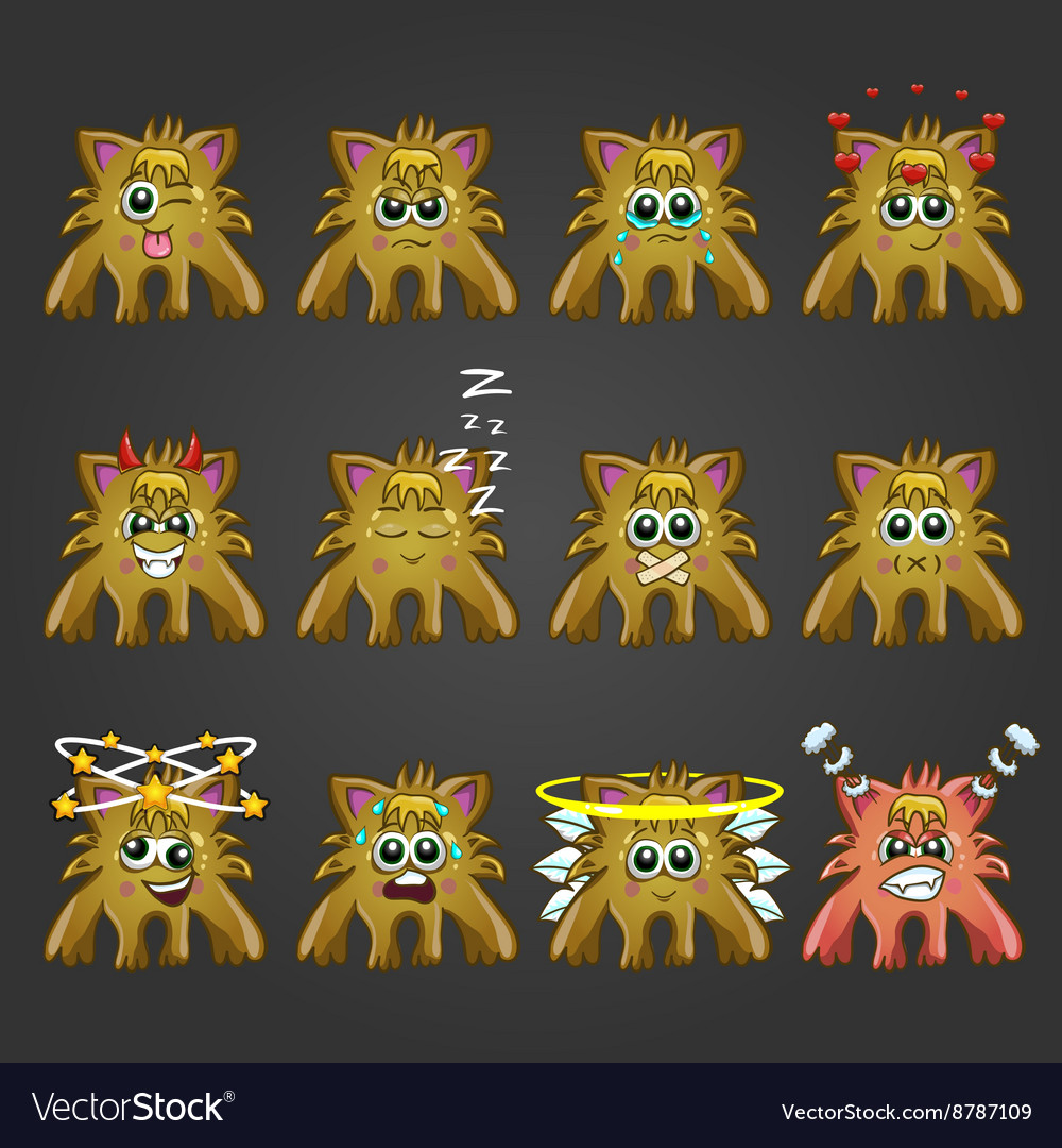 Set of cute cartoon monsters with different vector