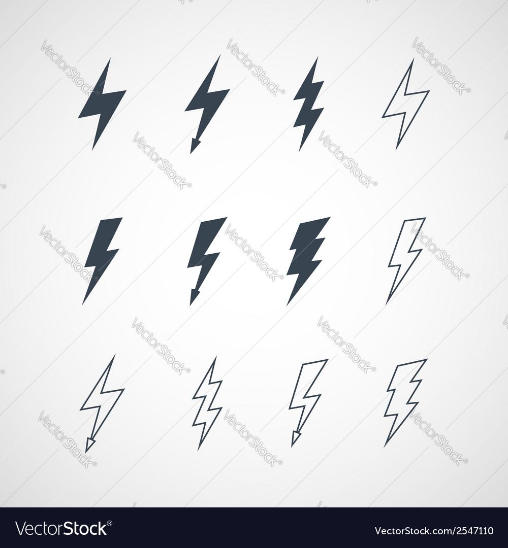 Lightning icon set vector