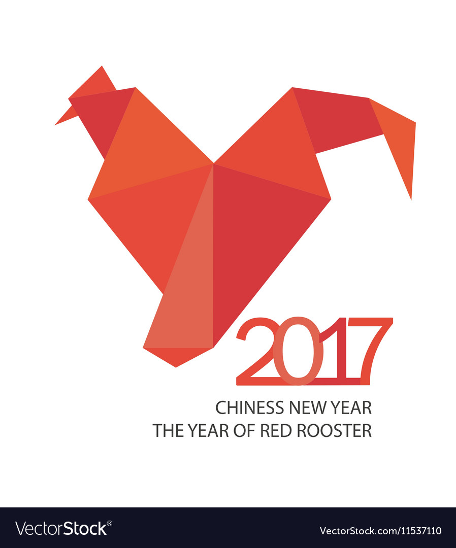 Red fire rooster in origamy style for 2017 vector