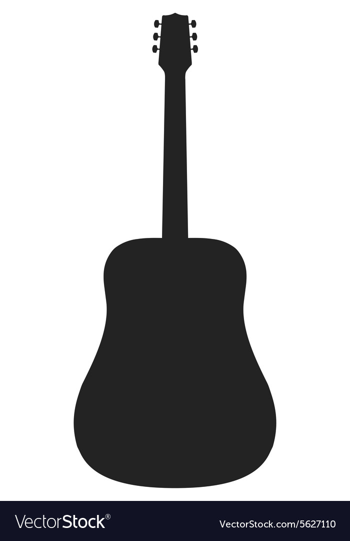 Silhouette of acoustic guitar vector