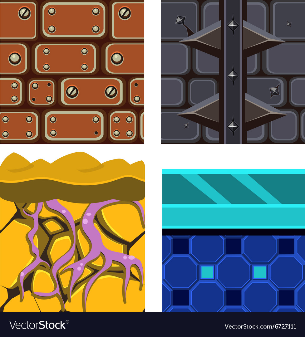 Textures for platformers icons set with vector