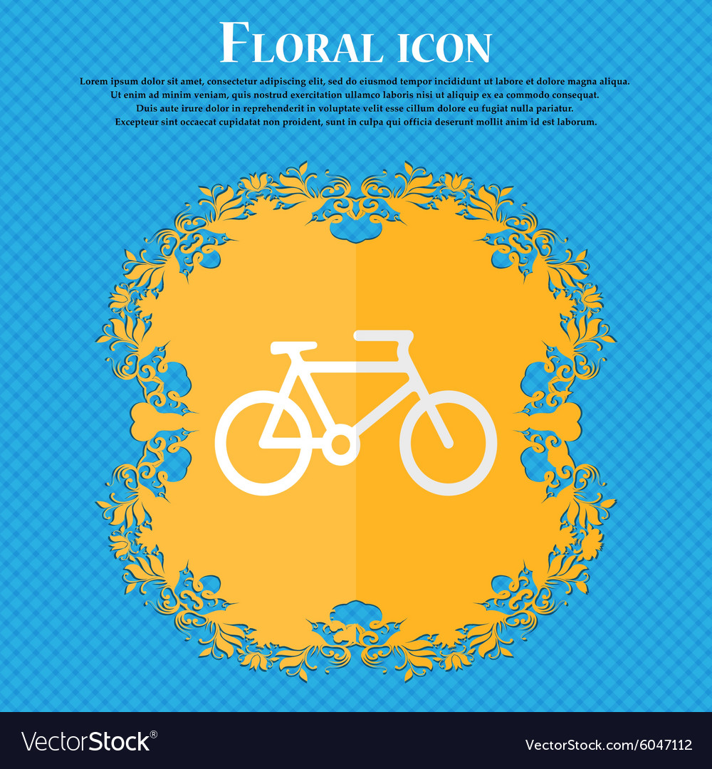 Bike floral flat design on a blue abstract vector