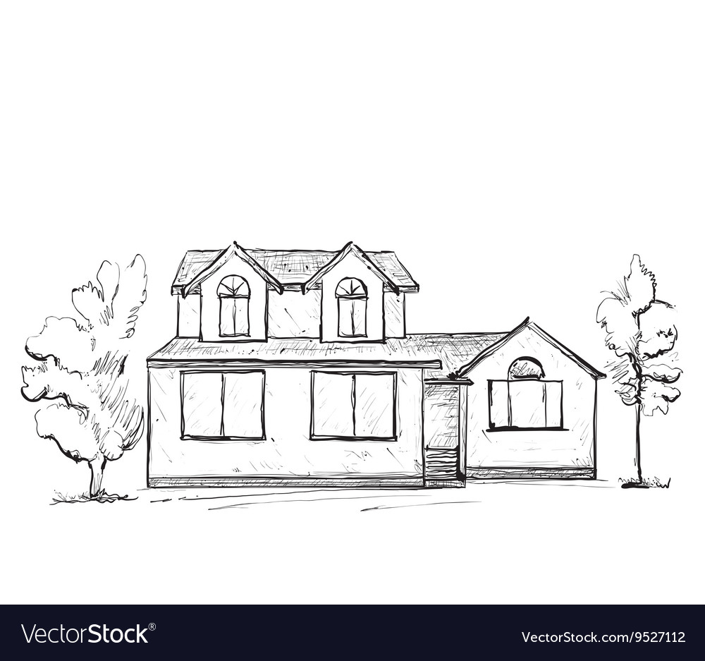House sketch hand drawn landscape vector