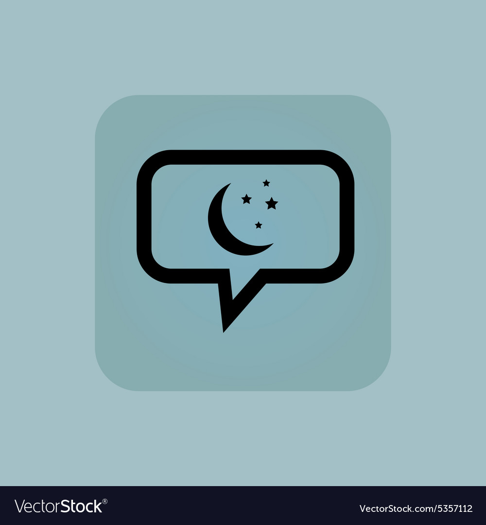 Pale blue night message icon vector