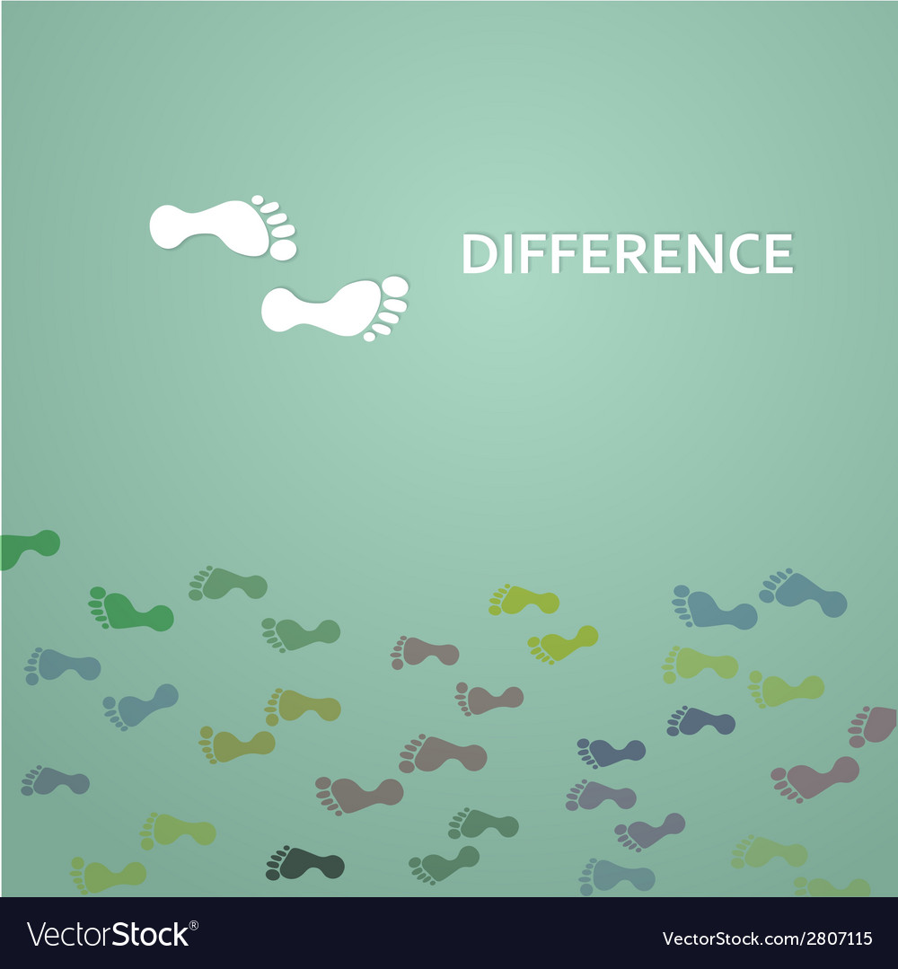 Footprints with difference concept vector