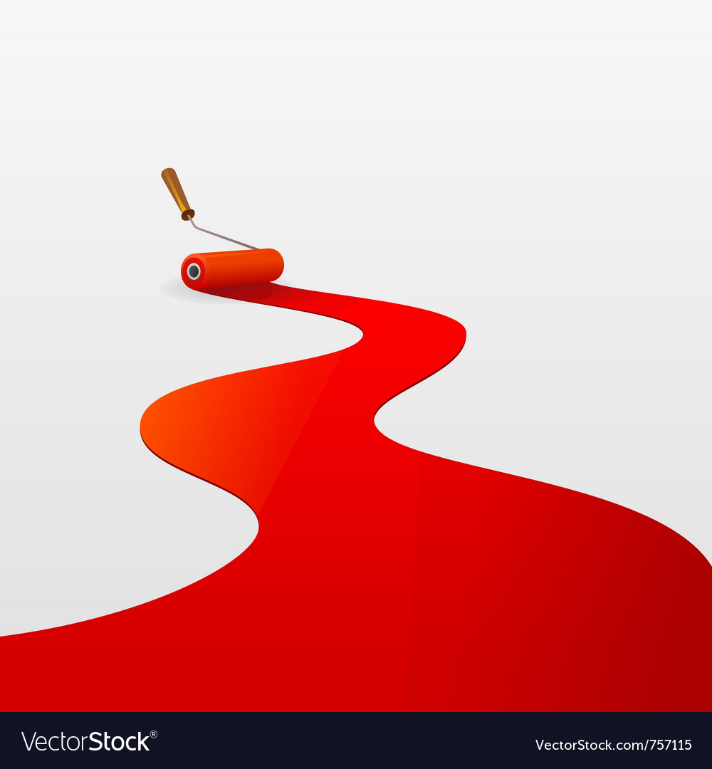 Red paint and roller vector