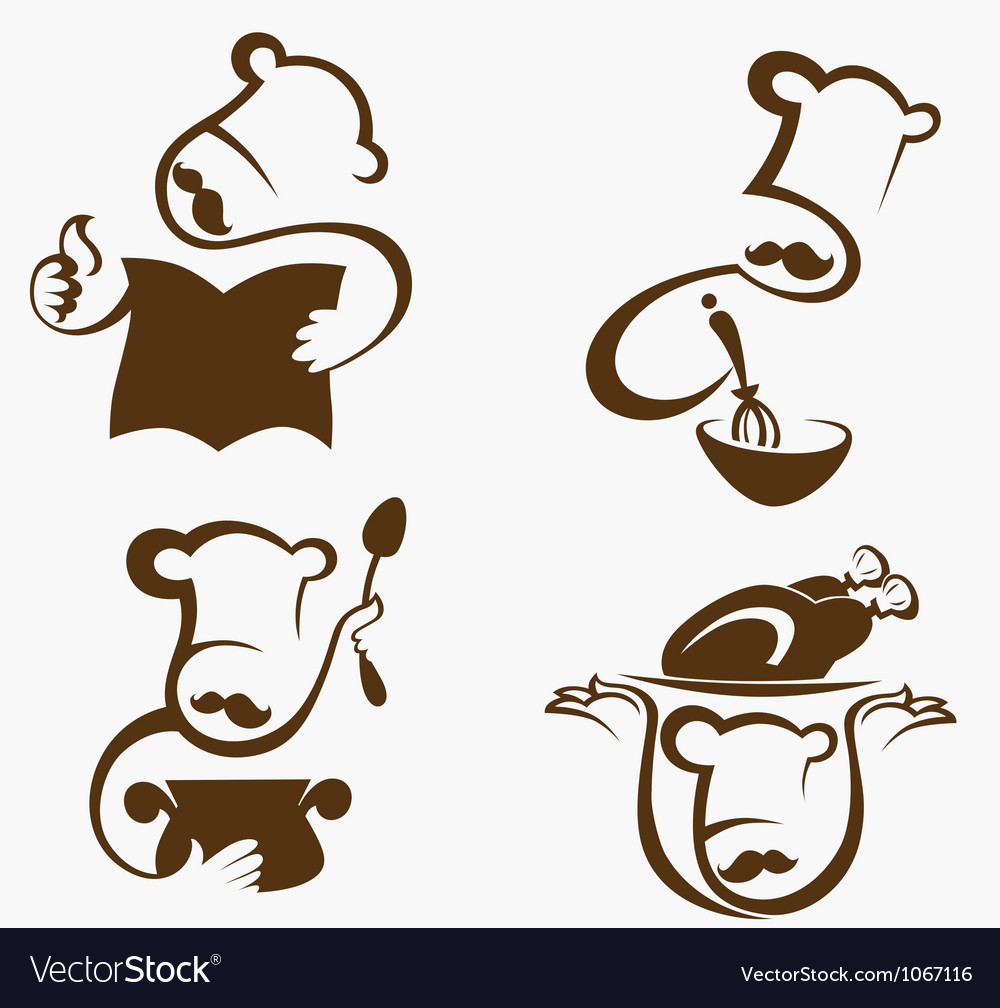 Cooking symbols and professionals emblems vector