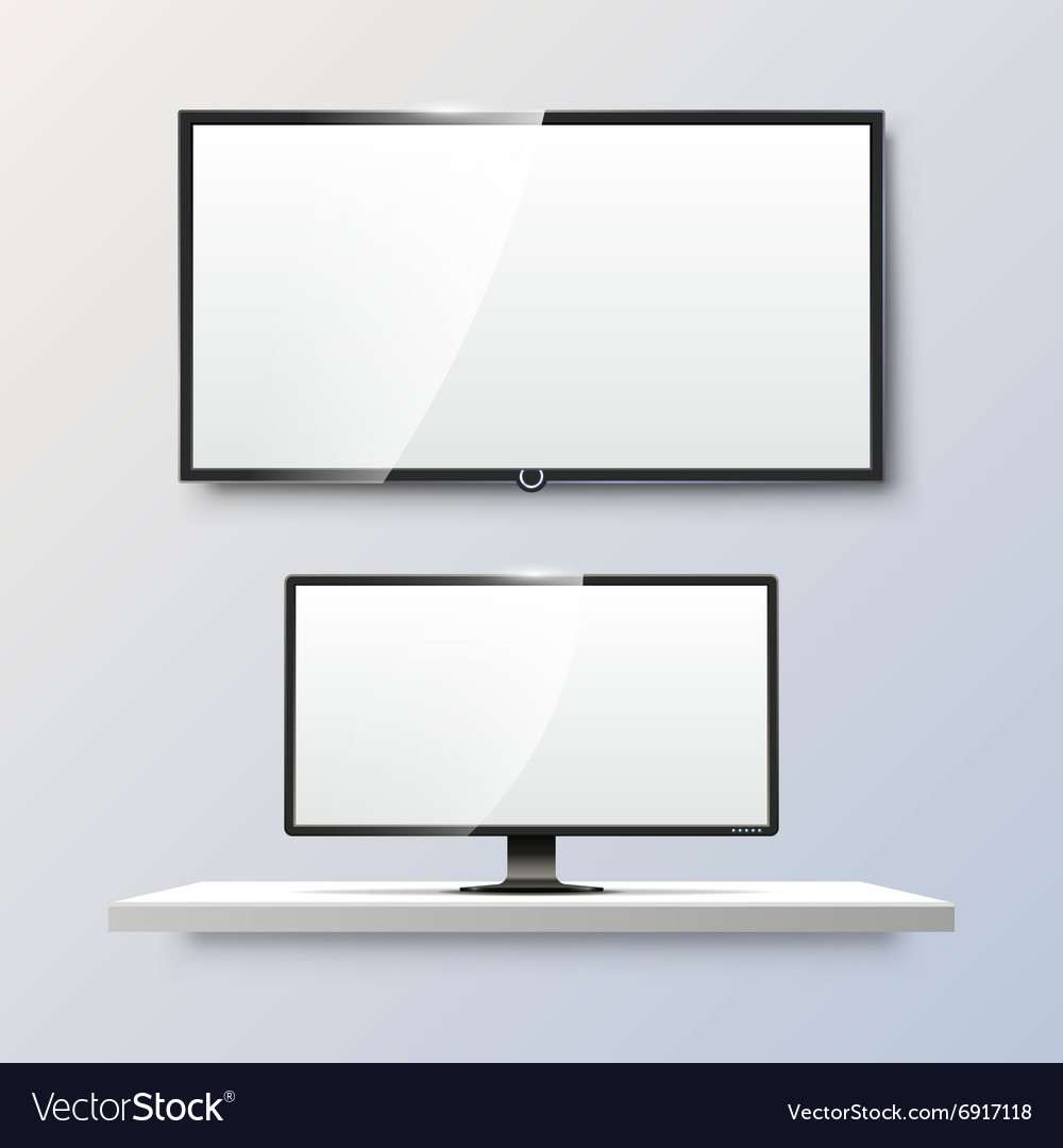 Lcd monitor and empty white flat tv screen vector